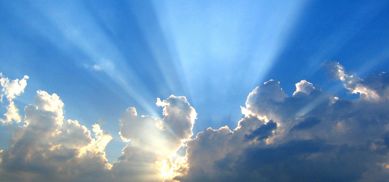 sun burst through clouds